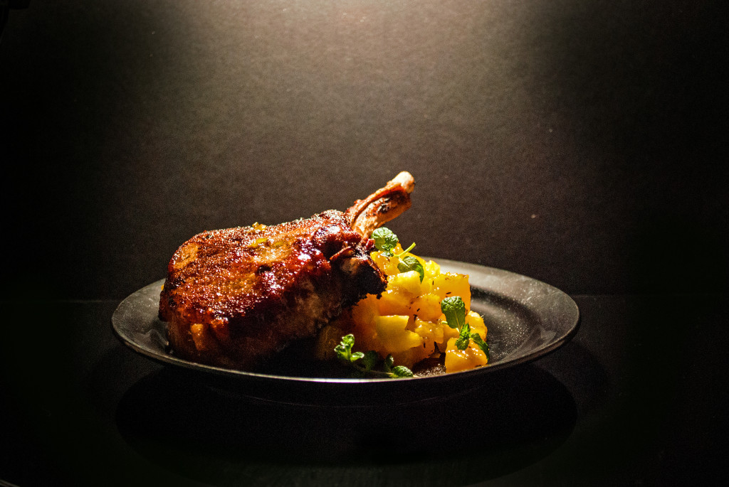 French Pork Chops with Mango Chutney and Garlic Mashed Potatoes