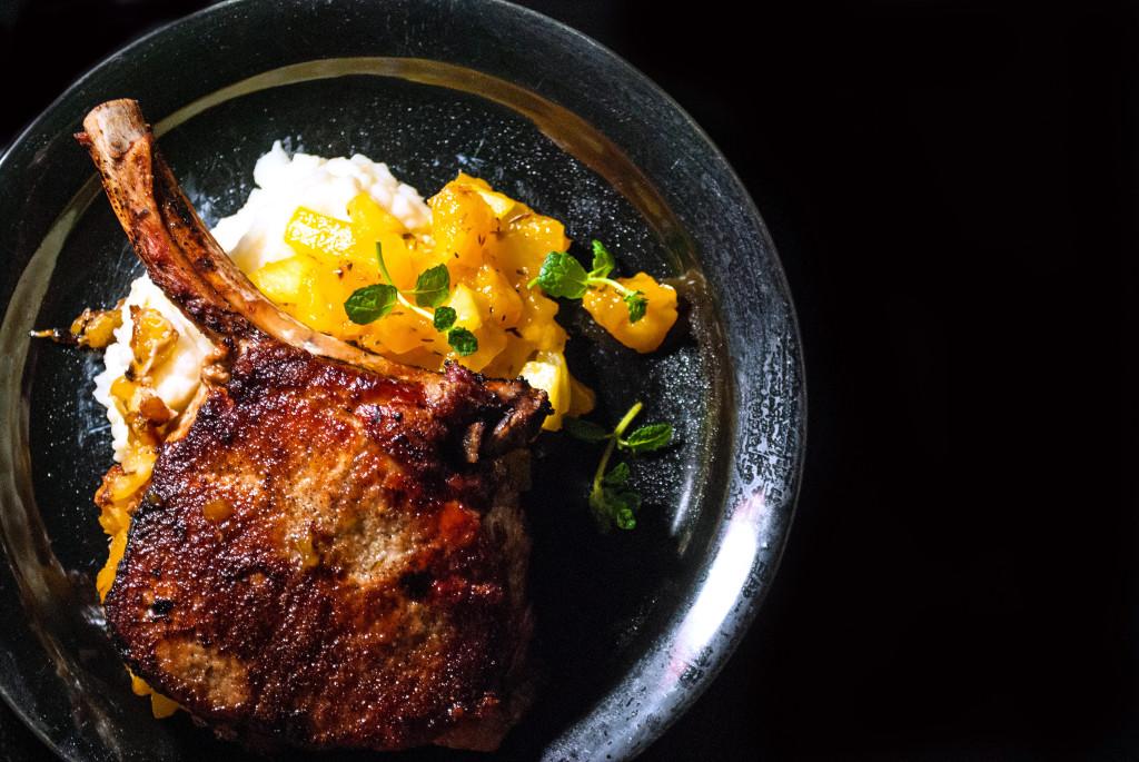 French Pork Chops with Mango Chutney and Garlic Mashed Potatoes