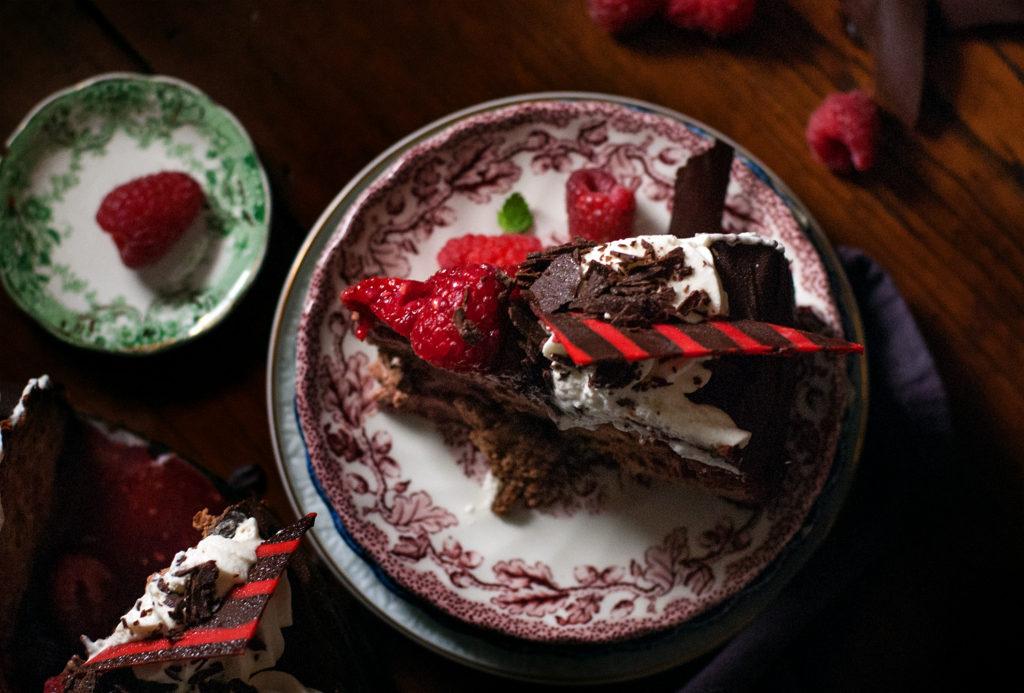 Dark Chocolate Raspberry Cheesecake