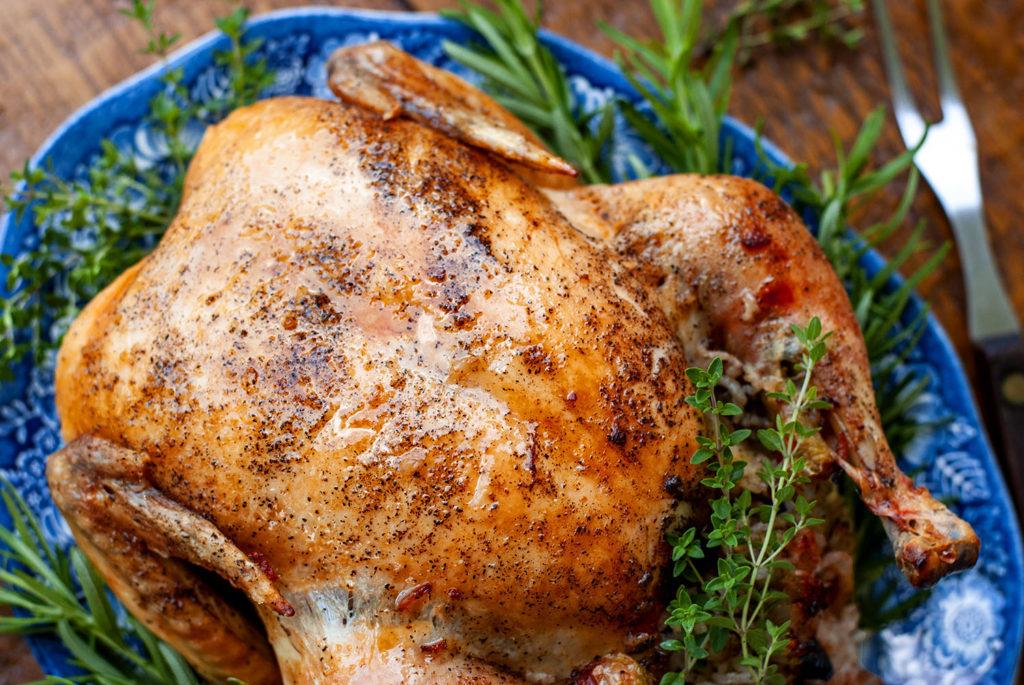 Roast Chicken with Cherry Walnut Stuffing